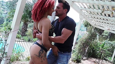 Ebony outdoor squatting to suck and jerking penis Daisy Ducati