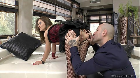 Ass spreading and cunnilingus while ass fingering fishnet Dominica Phoenix