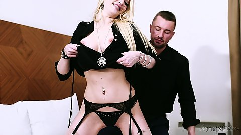 Tripping her clothes in bras and panties Tamara Grace proceeding to fellatio
