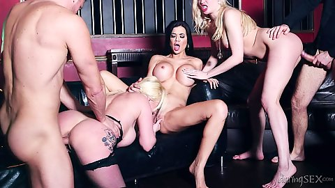 Jasmine Jae and Jaiden West and Tamara Grace doggy style and standing action orgy