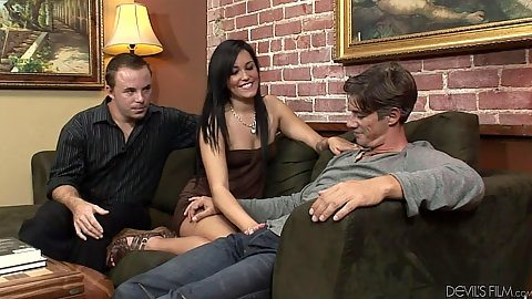 Petite skinny brunette Tasia Banx swapps husbands cock for another
