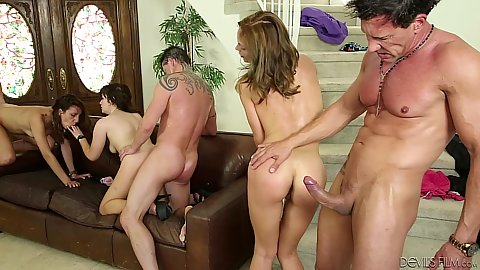 Standing fuck and group reverse cowgirl with swinger heated chicks Sophia Grace and Paris Lincoln and Jenny Jett