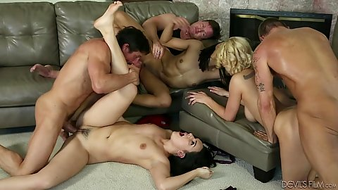 Swinger wife swapping and ass fingering from Paisley Parker and Kira Noir and Kenzie Taylor
