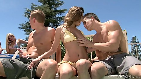 outdoor bikini jerking and sucking wingers Jynx Maze and Kaycee Brooks and Victoria Lawson