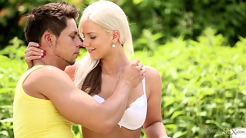Outdoor bff romantic make out session with Nathaly Cherie