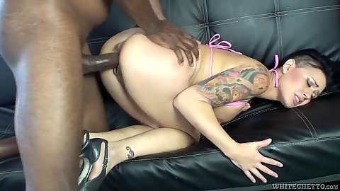 Smoking hot Eva Angelina in interracial doggy plowing