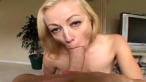 Blowjob and sucking balls blonde milf in pov
