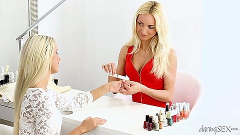 Blonde lesbian cuties Lola Z and Victoria Puppy do manicure