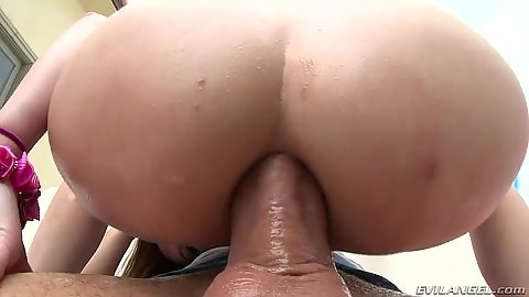 Rectal plowing with Gia Love sitting on dick with anus