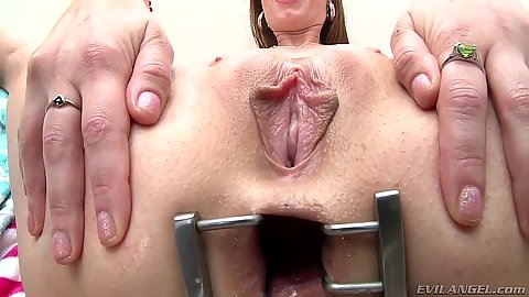 Rectal stretching with gaping ass Gia Love in close up with food inserted