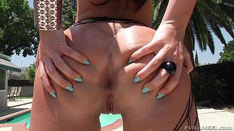 Sex craving Brittany Shae spreading her ass outside in fishnet