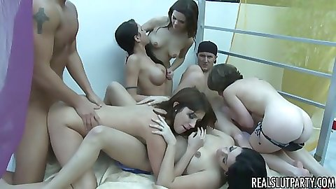 Real sluts in a group fuck orgy after heavy fucking