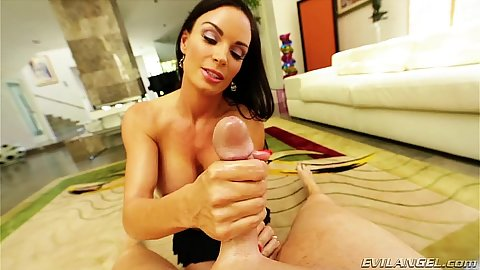 Oily and slipper handjob with babe milf Diamond Foxxx in pov