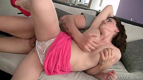 Great juggs all natural Anabelle B sideways panties fuck