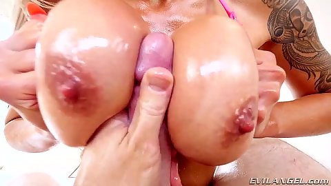Seductive titty fuck with oil all in pov Nina Elle