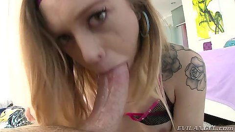 Inked girl pov deep throat and wet pussy penetration Lucy Tyler