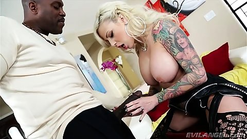 Captivating blowjob for black cock with big juggs milf Vyxen Steel