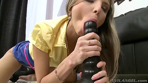 Sucking a big dildo with skinny girl cutie Gina Gerson and anal dildo sitting