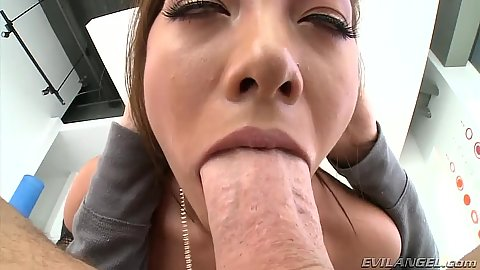 Deep throat asian close up with Morgan Lee sucking it well