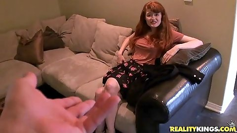 Redhead Abbey Rain in pov interview and stripping for some oney