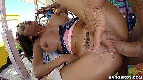 Corrupt public outdoor busty bang with anal on the summer fair Franceska Jaimes