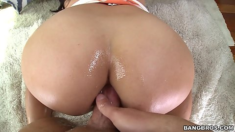 Cock insertion into well lubed and tight milf butt Missy Martinez in pov