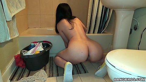 Naked latina maid doing house cleaning Nadia Ali
