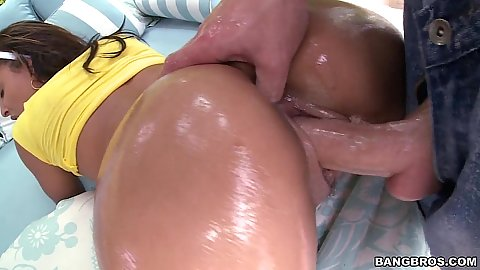 Ass fingering an oiled black cutie Teanna Trump