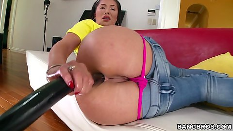 London Keyes doing self anal dildo insertion and ass play with pants pulled down