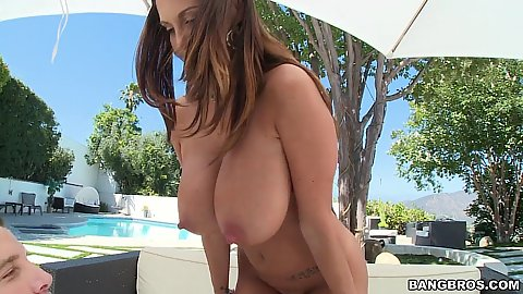 Excited pornstar milf with huge tits outdoors Ava Addams getting those nipples sucked