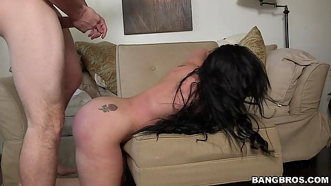 Naughty milf latina Carmen De Luz bending over for dick on sofa