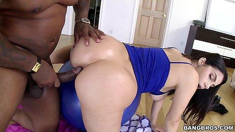 Yoga ball and big dick popping inside this foxy girl Valentina Nappi