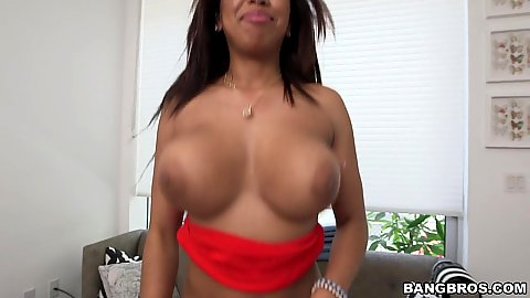 Beautiful black Katt with natural melons gets squeezed