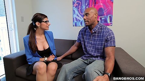 Fully clothed Mia Khalifa comes in for an interview