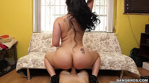 Reverse cowgirl big fat ass latina on dick riding Carmen De Luz