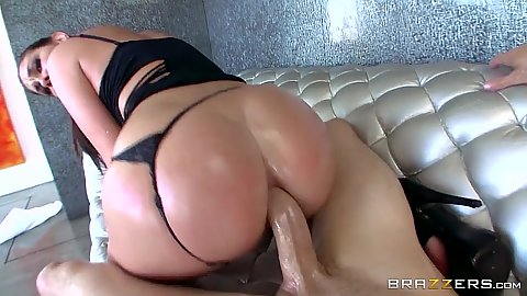 Voracious pulled aside panties anal from oiled up and drenched whore Brittany Shae