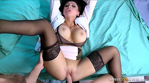 Friendly doctor in uniform Audrey Bitoni getting laid in pov cam