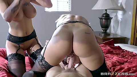 Heavenly lingerie busty chicks ffm threesome with Kissa Sins and Peta Jensen