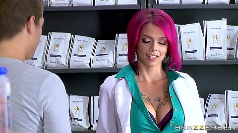Redhead doctor pharmacist gives handjob to Anna Bell Peaks