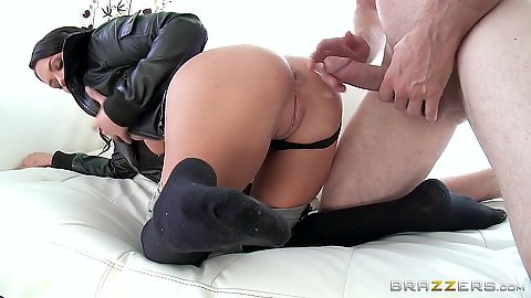 Lecherous hardcore pulled aside panties clothed fuck Roxy Raye