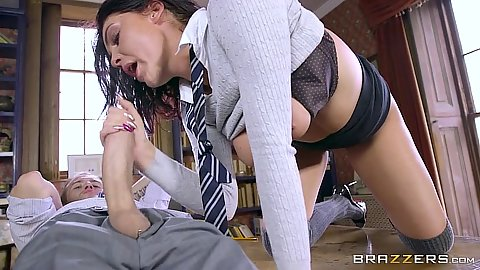 Immoral school girl from private college jerks a monster cock Emma Leigh
