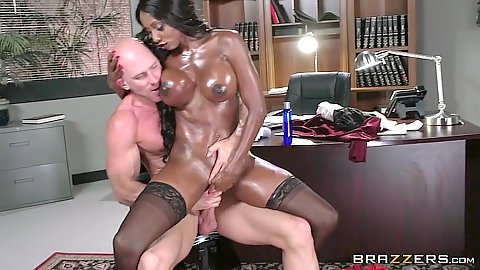 Lawyers office black milf with great body all oiled sex Diamond Jackson