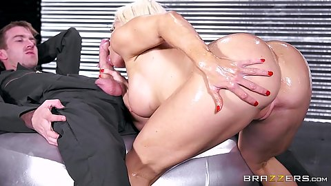 Big latina ass Nikki Delano oiled up and sucking shaft with anal