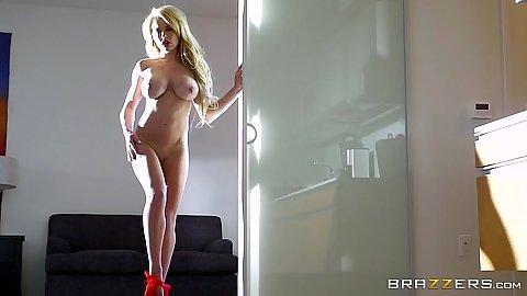 Pornstar slim busty babe Corinna Blake solo posing