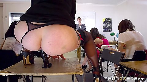 Classroom Jasmine James climbs on her desk and sits on sex toy