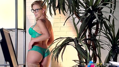Cherie Deville wearing sexy green bras and panties then office blowjob