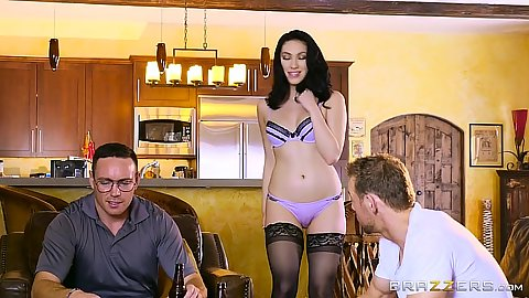 Stunning skinny latina brunette Aria Alexander acting nasty on bar