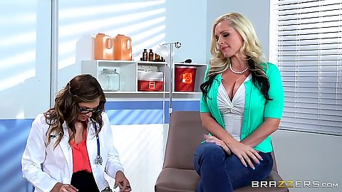 Lecherous female doctor Alena Croft and Val Dodds with patient play