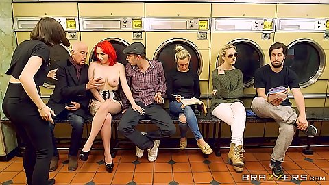 Laundromat group waiting with naked Jasmine James