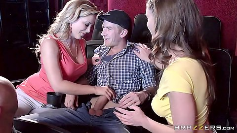 Threesome milf Cherie Deville and Molly Jane movie date in theater